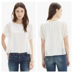 Madewell Cotton Blouse With Mesh Sides sz XS